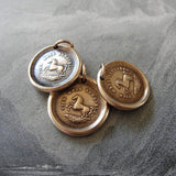 Horse Wax Seal Charm High Spirited - antique wax seal jewelry pendant Equestrian Horse Rearing