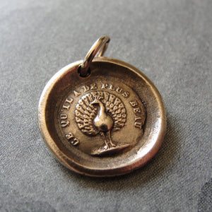 Peacock Wax Seal Charm - French motto The Most Beautiful - bronze wax seal jewelry - RQP Studio