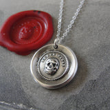 Skull Wax Seal Necklace memento mori antique wax seal charm jewelry motto Think Of It vanitas