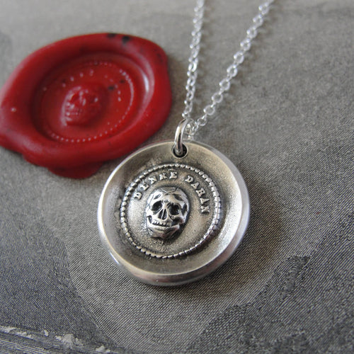 Skull Wax Seal Necklace memento mori antique wax seal charm jewelry motto Think Of It vanitas - RQP Studio