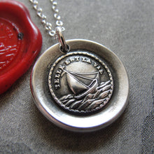 Load image into Gallery viewer, Such Is Life Wax Seal Necklace - antique wax seal charm jewelry Sail Boat French motto - RQP Studio