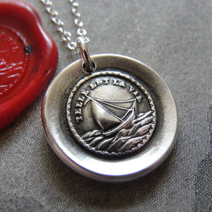 Such Is Life Wax Seal Necklace - antique wax seal charm jewelry Sail Boat French motto - RQP Studio