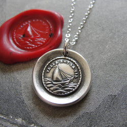 Such Is Life Wax Seal Necklace - antique wax seal charm jewelry Sail Boat French motto