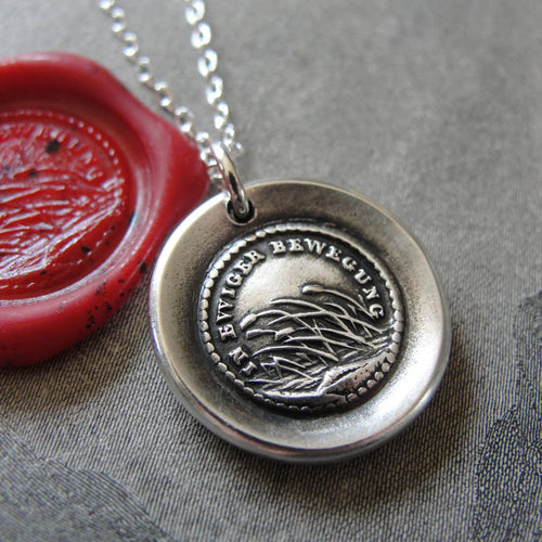 Destiny Wax Seal Necklace - In Perpetual Motion antique wax seal charm jewelry reeds and German motto - RQP Studio