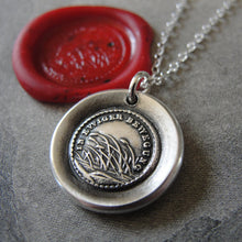 Load image into Gallery viewer, Destiny Wax Seal Necklace - In Perpetual Motion antique wax seal charm jewelry reeds and German motto - RQP Studio