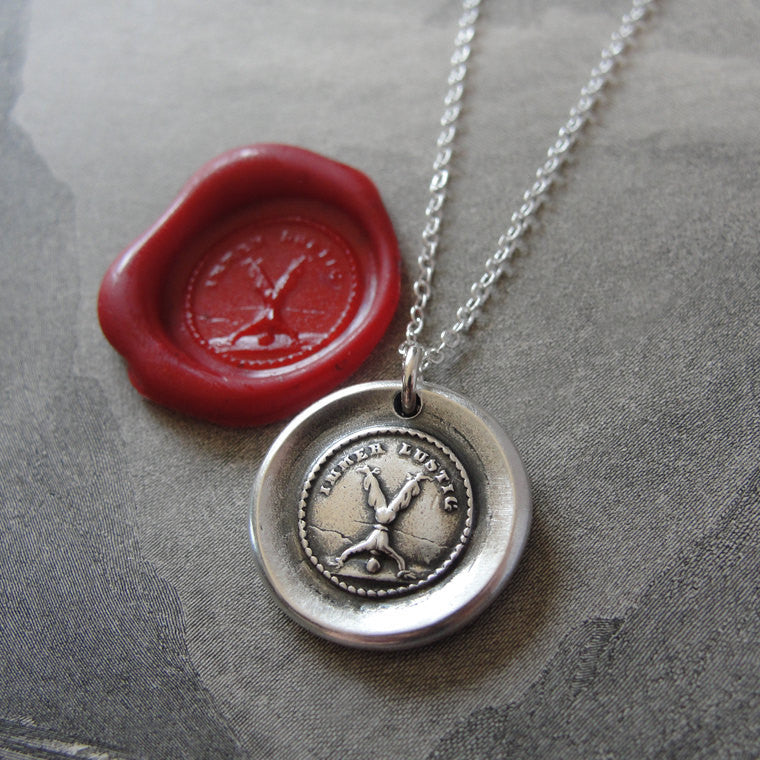 Wax Seal Necklace Always Fun - antique wax seal charm jewelry gymnastics jester handstand German motto - RQP Studio