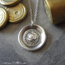 Load image into Gallery viewer, Leaf Wax Seal Necklace - antique wax seal jewelry Evergreen Leaf French motto I Change Only In Death - RQP Studio