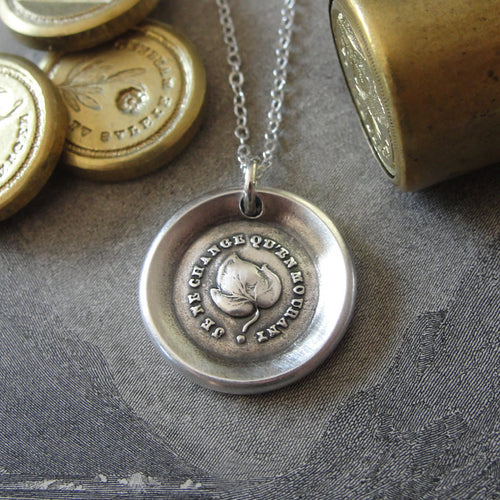 Leaf Wax Seal Necklace - antique wax seal jewelry Evergreen Leaf French motto I Change Only In Death - RQP Studio