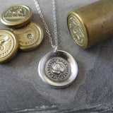 Leaf Wax Seal Necklace - antique wax seal jewelry Evergreen Leaf French motto I Change Only In Death
