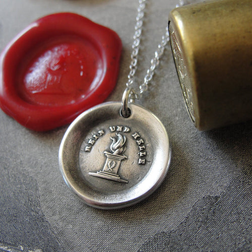 Fire wax seal necklace Burn Brightly - antique wax seal jewelry in silver - RQP Studio
