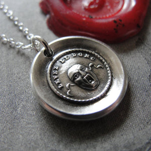 Wax Seal Necklace Theatre Mask - antique charm wax seal jewelry drama masquerade Mask II - RQP Studio