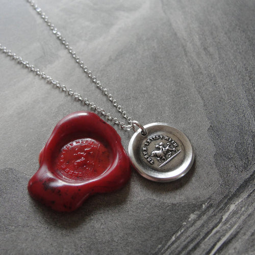 Wax Seal Necklace Fidelity Guides Me - antique wax seal charm jewelry Cupid and Dog German motto - RQP Studio
