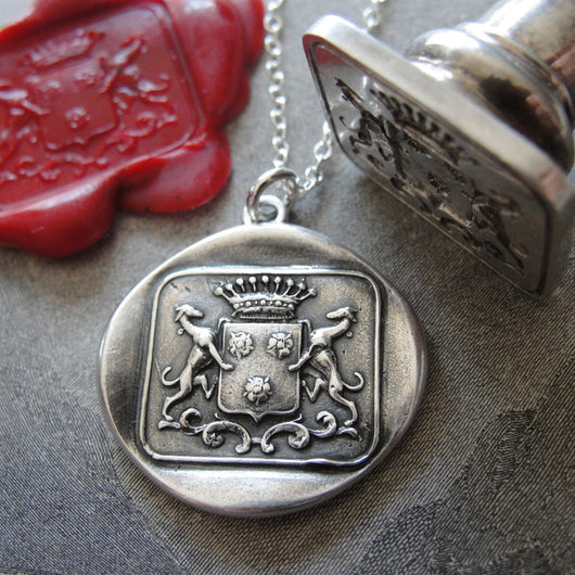 Greyhound Wax Seal Necklace - antique wax seal charm jewelry dog whippet shield crest