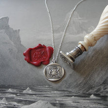 Load image into Gallery viewer, Greyhound Wax Seal Necklace - antique wax seal charm jewelry dog whippet shield crest - RQP Studio