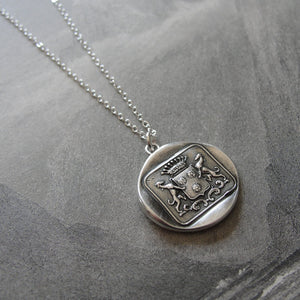 Greyhound Wax Seal Necklace - antique wax seal charm jewelry dog whippet shield crest - RQP Studio