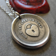 Load image into Gallery viewer, Heart Padlock Wax Seal Necklace - You Have The Key - antique French wax seal charm jewelry - RQP Studio