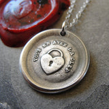 Heart Padlock Wax Seal Necklace - You Have The Key - antique French wax seal charm jewelry love motto