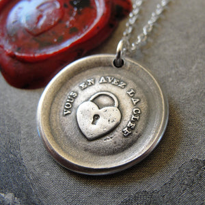 Heart Padlock Wax Seal Necklace - You Have The Key - antique French wax seal charm jewelry - RQP Studio