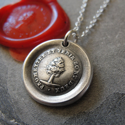Keep Promise Wax Seal Necklace Antique Tree wax seal charm jewelry French motto - RQP Studio