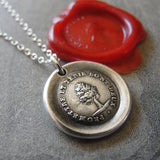 Keep Promise Wax Seal Necklace Antique Tree wax seal charm jewelry French motto