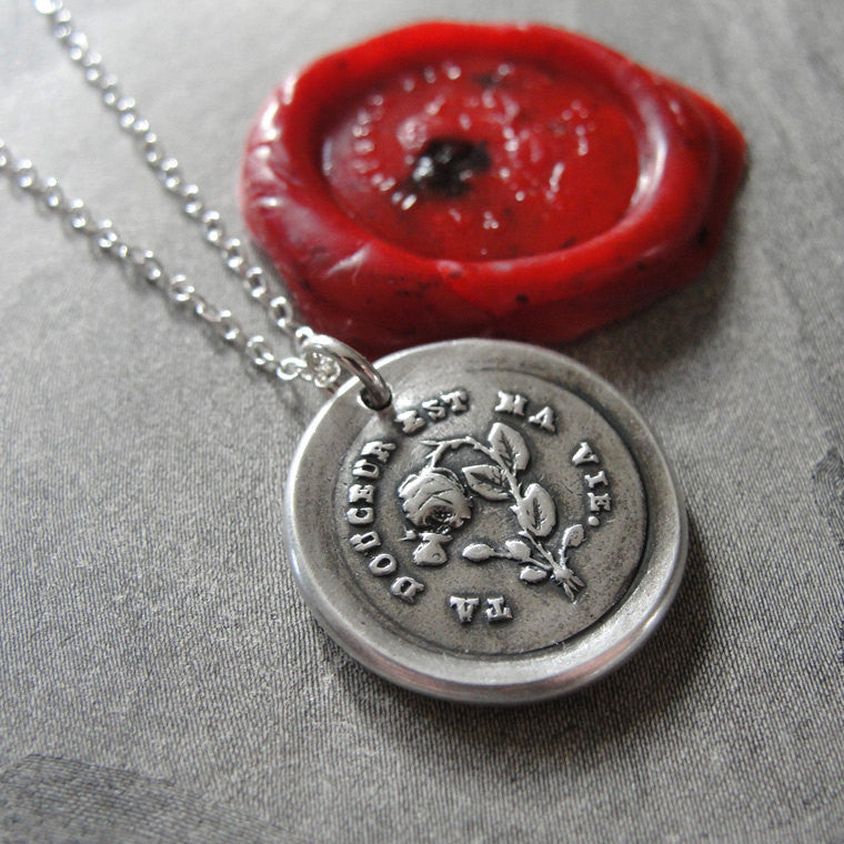 Wax Seal Necklace Your Sweetness Is My Life antique wax seal charm jewelry - inspirational love motto - RQP Studio