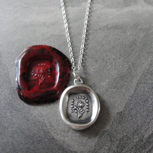 Rose Wax Seal Necklace - antique wax seal charm jewelry French caption Like A Rose