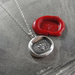 Now And Always - Wax Seal Necklace Rose Bouquet - antique wax seal charm jewelry with French motto