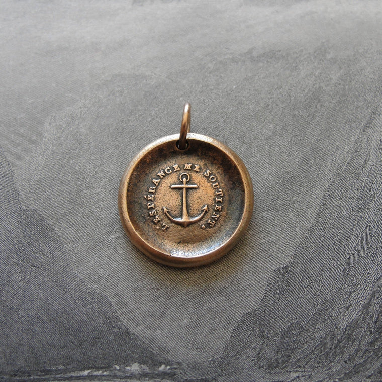 Anchor Wax Seal Charm - Hope Sustains Me - antique wax seal jewelry nautical in bronze - RQP Studio