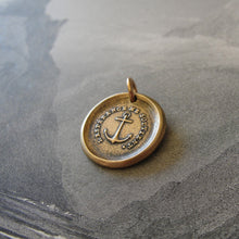 Load image into Gallery viewer, Anchor Wax Seal Charm - Hope Sustains Me - antique wax seal jewelry nautical in bronze - RQP Studio