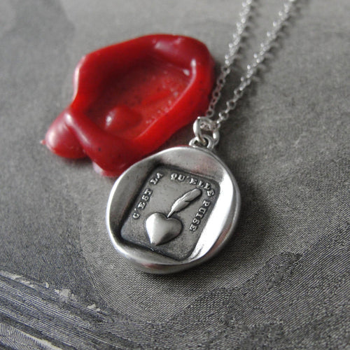 Wax seal necklace Heart Sincere - antique wax seal charm jewelry Heart and Quill Pen French motto - RQP Studio