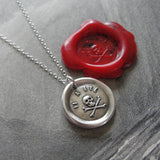Skull Wax Seal Necklace - antique wax seal charm jewelry Memento Mori - It Hath Been - remember mortality