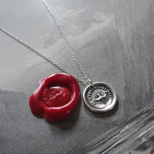 Wax Seal Necklace Holy Spirit - Forsake Me Not antique wax seal charm jewelry French motto dove - RQP Studio