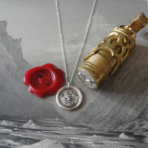 Skull Wax Seal Necklace - antique wax seal charm jewelry Memento Mori - It Hath Been - remember mortality - RQP Studio