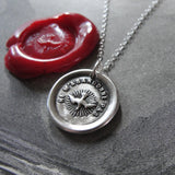 Wax Seal Necklace Holy Spirit - Forsake Me Not antique wax seal charm jewelry French motto dove