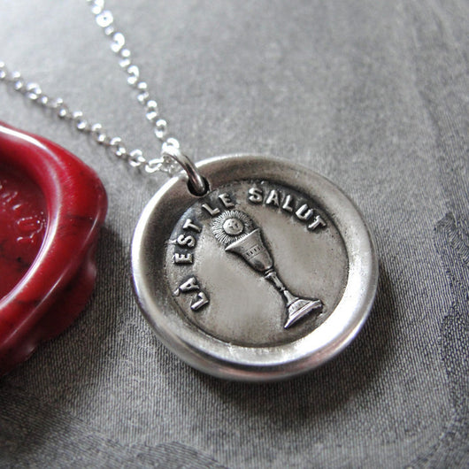Salvation Wax Seal Necklace Holy Chalice - antique wax seal charm jewelry with Christian symbol
