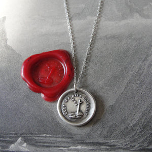 Faith Lights The Way Wax Seal Necklace - antique wax seal charm jewelry with Christian Cross and Star - RQP Studio
