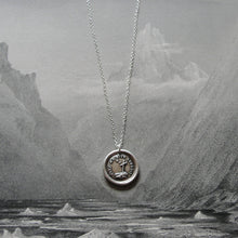 Load image into Gallery viewer, Faith Lights The Way Wax Seal Necklace - antique wax seal charm jewelry with Christian Cross and Star - RQP Studio