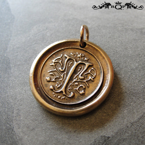 Wax Seal Charm Initial T - wax seal jewelry pendant alphabet charms Letter T - RQP Studio