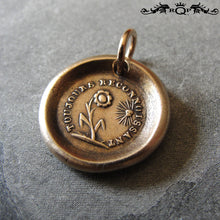 Load image into Gallery viewer, Flower Wax Seal Charm Always Grateful antique wax seal charm jewelry Gratitude motto and sun flower - RQP Studio