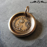 Flower Wax Seal Charm Always Grateful antique wax seal charm jewelry Gratitude motto and sun flower