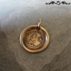 Flower Wax Seal Charm Always Grateful antique wax seal charm jewelry Gratitude motto and sun flower - RQP Studio