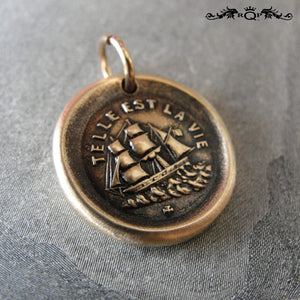 Ship Wax Seal Charm Such Is Life - antique wax seal jewelry pendant three masted rigger - RQP Studio