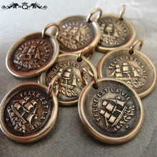 Load image into Gallery viewer, Ship Wax Seal Charm Such Is Life - antique wax seal jewelry pendant three masted rigger - RQP Studio