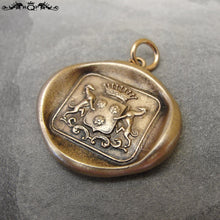 Load image into Gallery viewer, Greyhound Wax Seal Charm - antique wax seal charm jewelry Courage Loyalty with dog crest in bronze - RQP Studio
