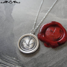 Load image into Gallery viewer, Hope Supports Them - Silver Wax Seal Necklace Wedding Jewelry Couples Celebration - RQP Studio