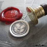 Anchor Wax Seal Necklace Hope Supports antique wax seal jewelry French motto Hearts Forever