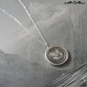 Hope Supports Them - Silver Wax Seal Necklace Wedding Jewelry Couples Celebration - RQP Studio