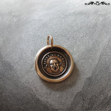 Load image into Gallery viewer, Wax Seal Charm Theatre Mask- antique wax seal jewelry in bronze with French motto - RQP Studio