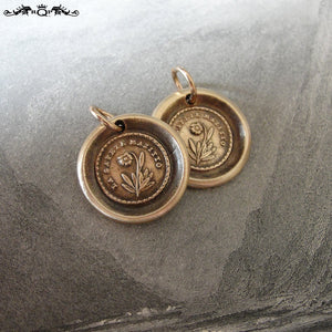 Flower Wax Seal Charm - Lips Are Sealed - antique wax seal jewelry forget me not pendant in bronze - RQP Studio
