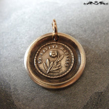 Load image into Gallery viewer, Flower Wax Seal Charm - Lips Are Sealed - antique wax seal jewelry forget me not pendant in bronze - RQP Studio